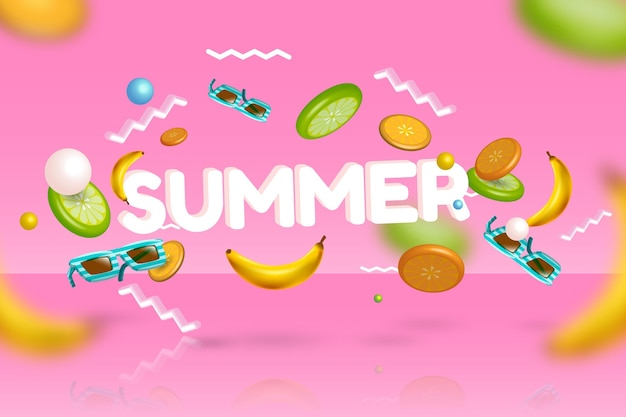 3d summertime bananas and sunglasses Free Vector