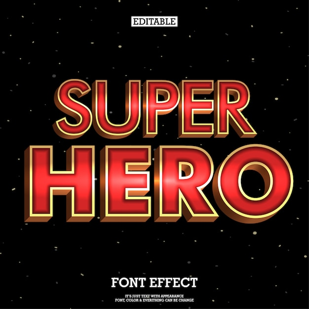 3d super hero font with metallic effect Premium Vector