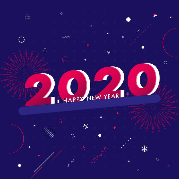 3d text 2020 and abstract elements on purple background. Premium Vector