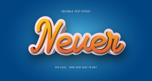 3d text effect, editable text Premium Vector
