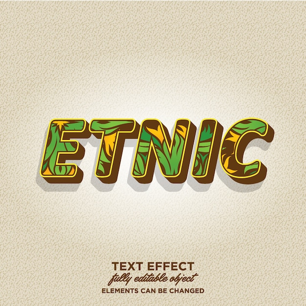 3d text style with tribal pattern Premium Vector
