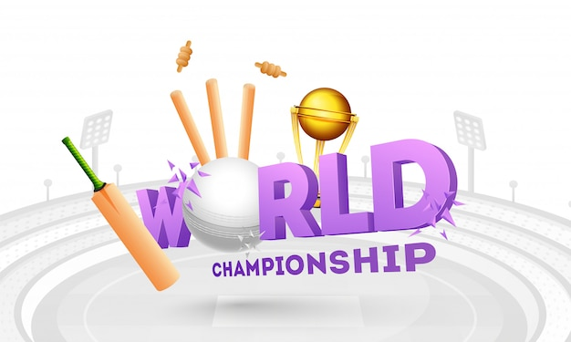 3d text world with ball Premium Vector