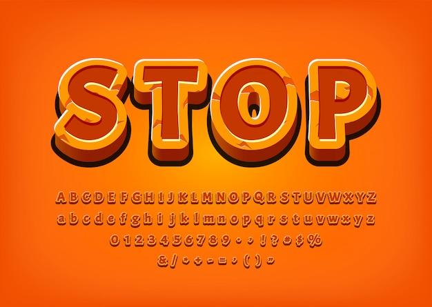Остановите 3d алфавит игровой логотип tittle текстовый эффект векторная иллюстрация Premium векторы