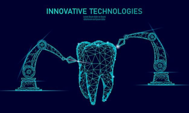 Концепция руки робота нововведения зуба 3d полигональная. Premium векторы