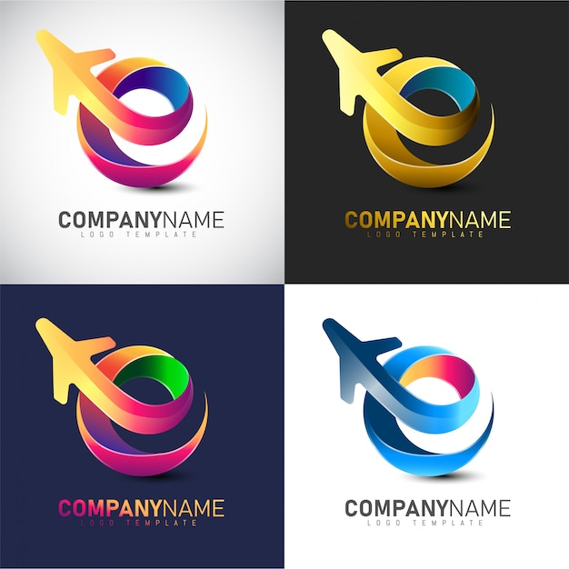 3d travel logo template for travel & airlines company Premium Vector