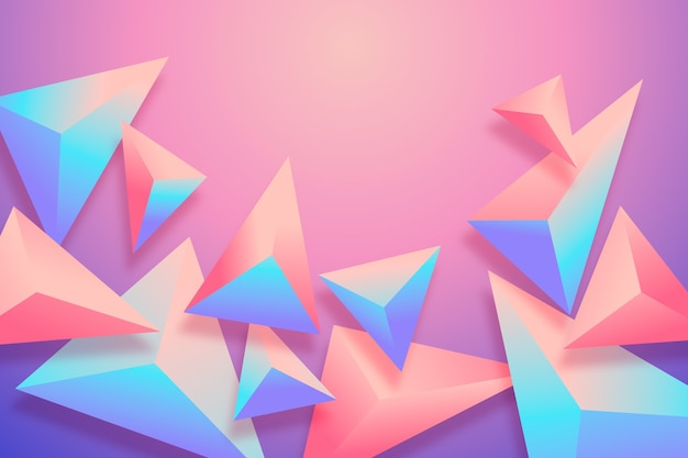 3d triangle background with vivid colors Free Vector