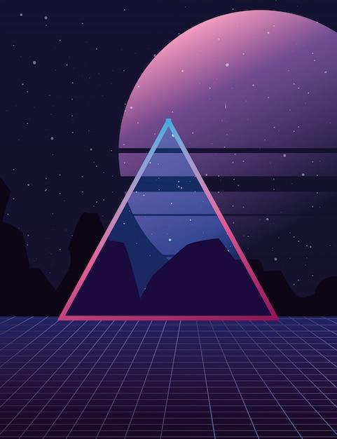 3d triangle landscape moon dark Premium Vector