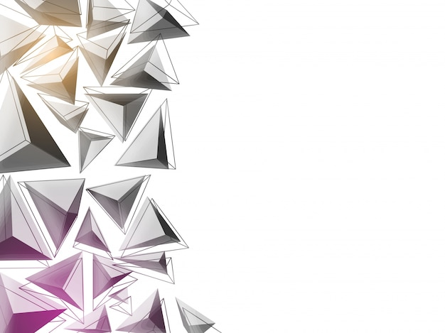3D Triangles Abstract Background In Grey And Purple Colors Low Poly Concept Free