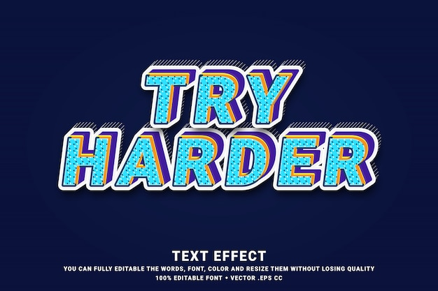3d try harder - text effect Premium Vector