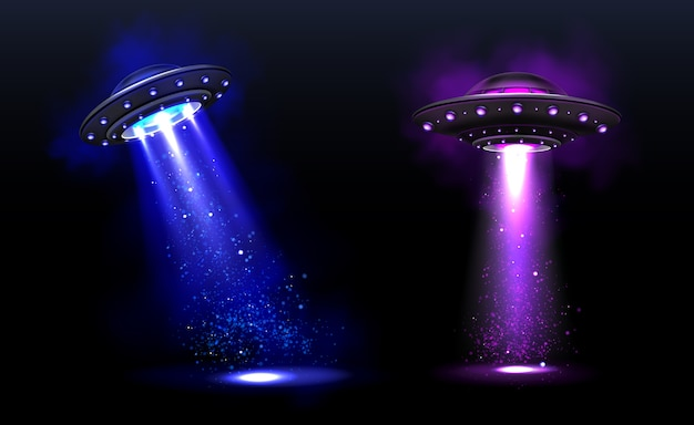 3d ufo, vector alien space ships with blue and purple light beams with sparkles. saucers with illumination and bright ray for human abduction, unidentified flying objects realistic vector illustration Free Vector