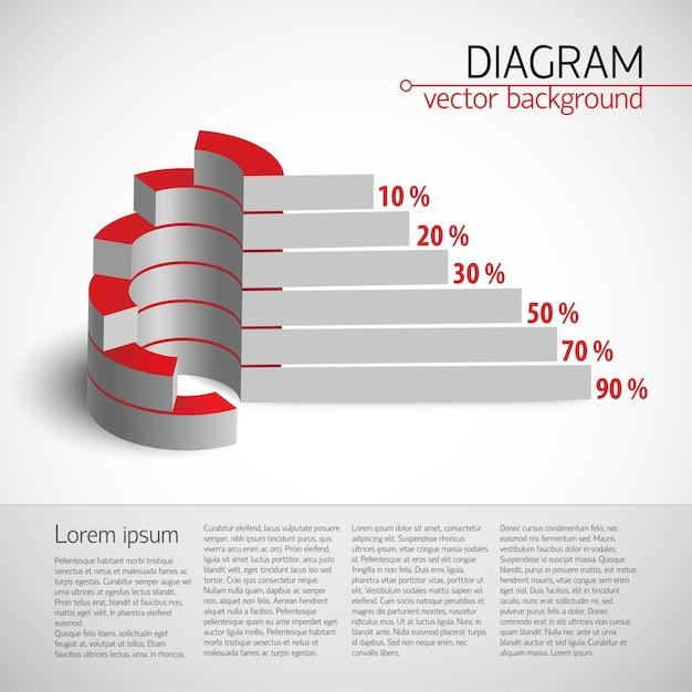 Шаблон 3d диаграммы полезности с реалистичной диаграммой с гистограммой и процентами Бесплатные векторы