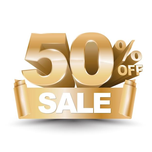 Premium Vector | 3d vector shiny gold discount 50 percent off