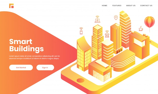 3d view of skyscaper building, home and hospital like as mobile app in smartphone for smart buildings concept based landing page design. Premium Vector