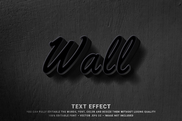 3d wall - text style effect Premium Vector