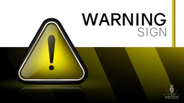 3d warning sign. Premium Vector