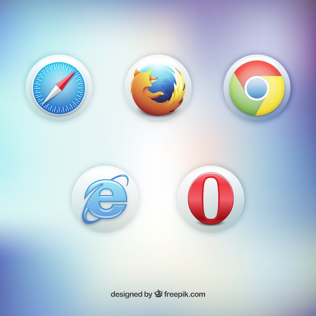3d web browser icon Free Vector