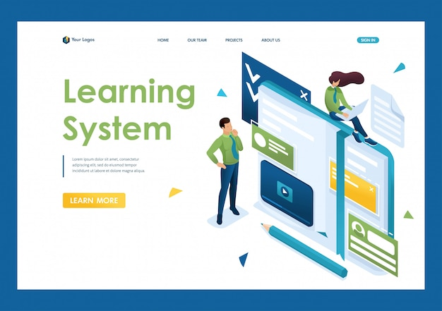 若者は、自己教育、オンライントレーニングに従事しています。人々を教える概念。 3dアイソメトリック。リンク先ページの概念とwebデザイン Premiumベクター