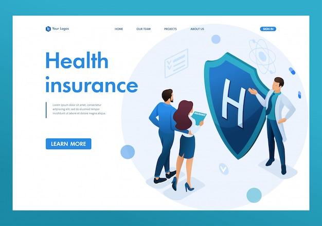 若い医者は、カップルに健康保険を提供しています。健康保険の概念。 3dアイソメトリック。リンク先ページの概念とwebデザイン Premiumベクター