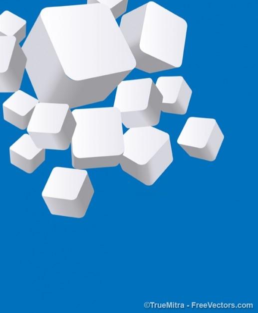 3d белые кубики на синем Бесплатные векторы