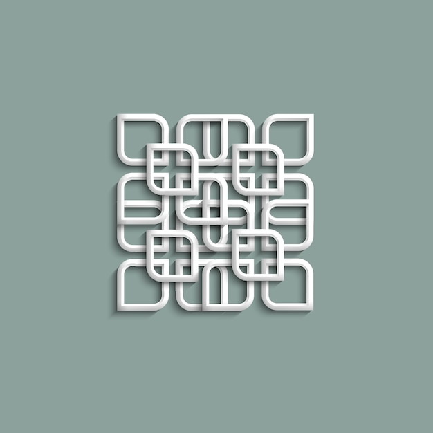 3d white pattern in arabic style Premium Vector