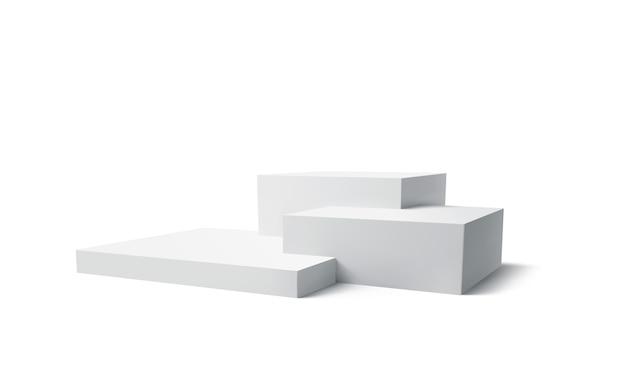 3d 흰색 연단 제품 절연입니다. 현대 화이트 큐브 연단 프리미엄 벡터