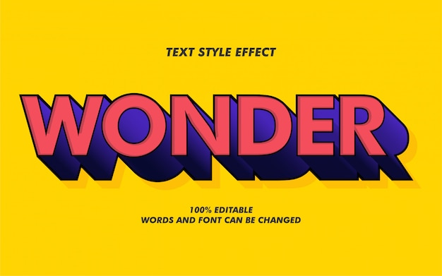 3d wonder bold text style effect for movie poster Premium Vector