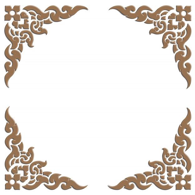 3d wooden carve of thai pattern frame Premium Vector
