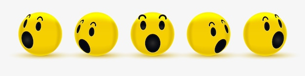 Дизайн лица смайлика 3d wow для социальной сети - удивленный смайлик - удивленный смайлик, шокированный смайлик Premium векторы