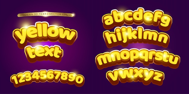 3d yellow & cartoon lettering set Premium Vector
