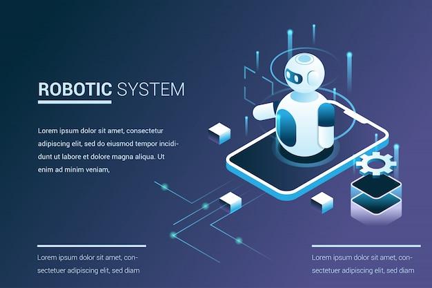 3dアイソメトリックスタイルのロボット機能を使用した将来のシステム自動化 Premiumベクター