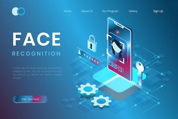 等尺性3dスタイルのスマートフォンアプリケーションに基づく顔認識システムの図 Premiumベクター