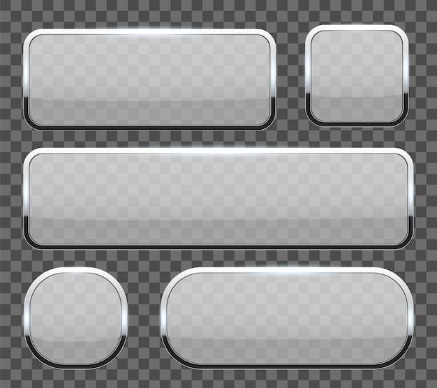 Стеклянные кнопки 3d с предпосылкой рамки хрома. Premium векторы