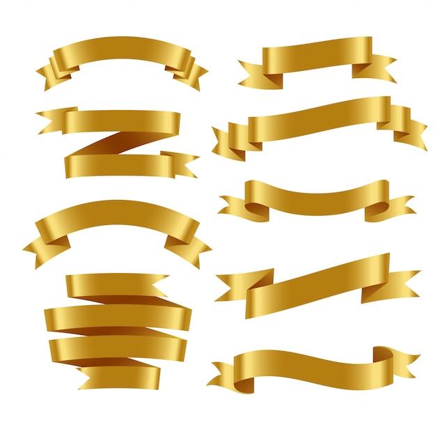 3dリアルな金色のリボンがセット 無料ベクター