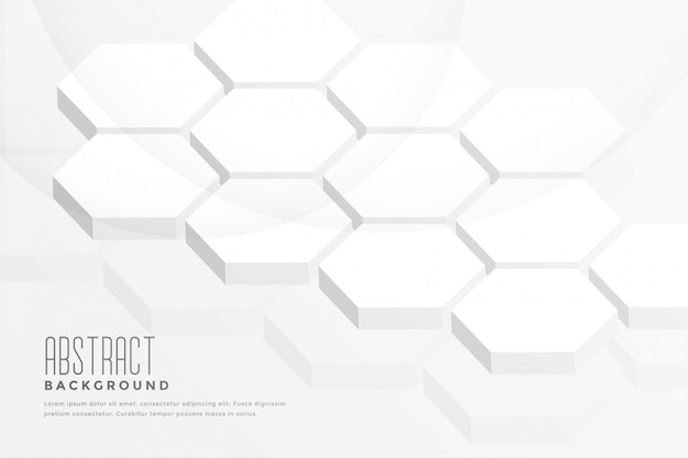 3d六角形の抽象的な白い背景 無料ベクター