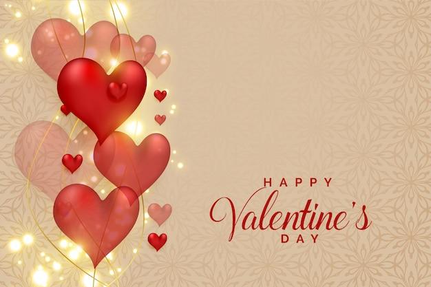 Абстрактные 3d сердца на светящиеся блестки на день святого валентина Бесплатные векторы