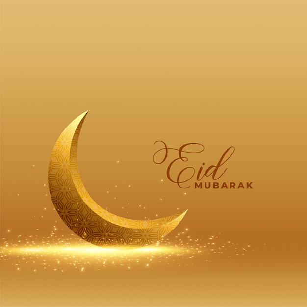 Золотой ид мубарак фон с блестящей 3d луны Бесплатные векторы