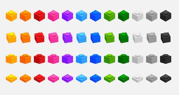 Набор 3d строительных блоков кирпича во многих цветах Бесплатные векторы