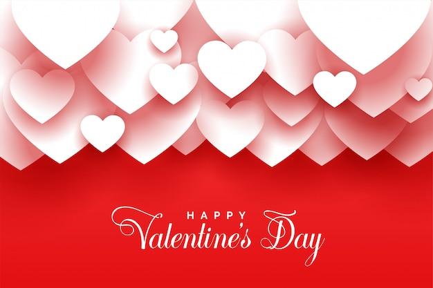 С днем святого валентина 3d сердца красный фон Бесплатные векторы