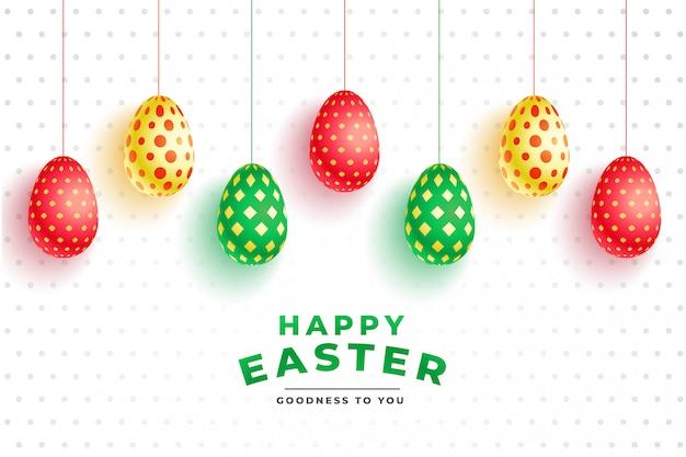 Красочные картины 3d яйца на пасху Бесплатные векторы