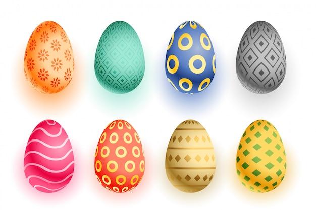 Набор красочных пасхальных 3d реалистичных яиц Бесплатные векторы