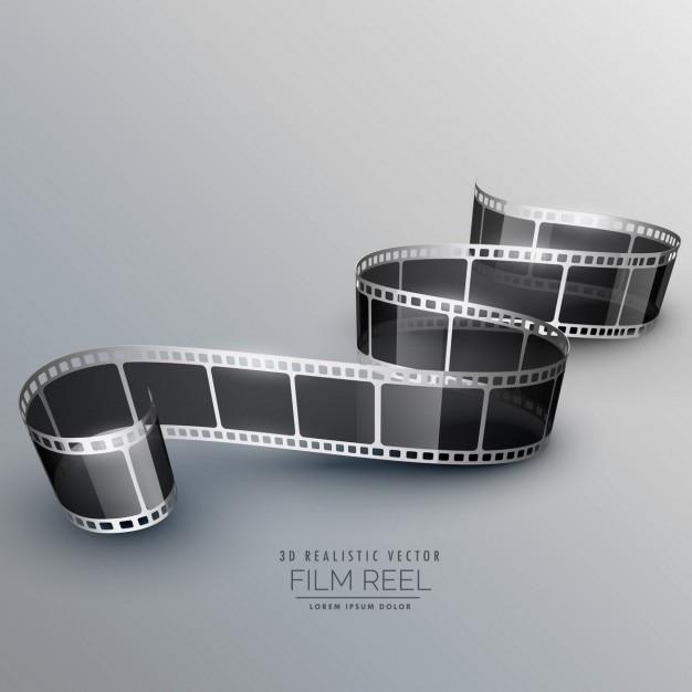 灰色の背景上の3d現実的なフィルムロール 無料ベクター