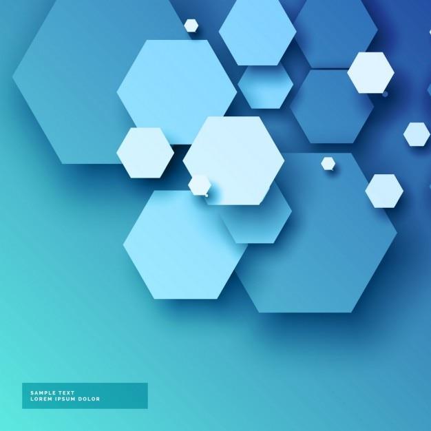 3dスタイルで六角形の形状を有する青色の背景 無料ベクター