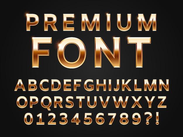 Глянцевый золотой шрифт, коллекция букв алфавита блеска для 3d премиум типа текста Premium векторы