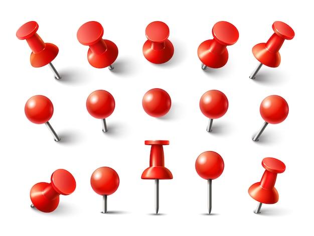 Красная канцелярская кнопка вид сверху. чертежная линия для заметки прикрепить коллекцию. реалистичные 3d кнопки, закрепленные в разных ракурсах Premium векторы
