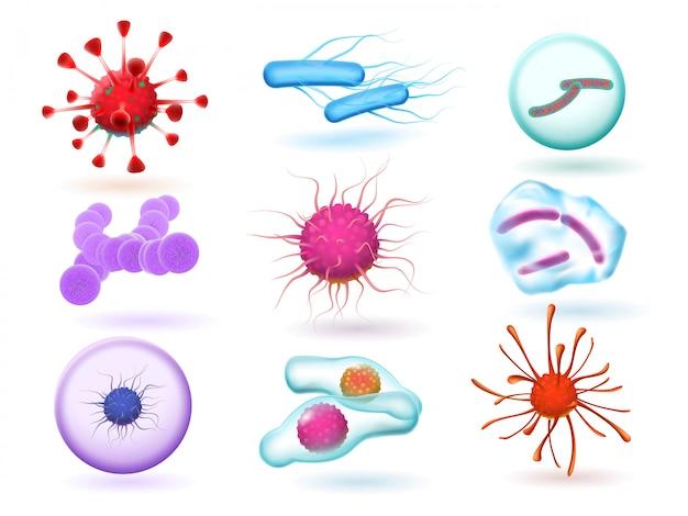 Реалистичные 3d микробиологические бактерии, различные вирусы, природные микроорганизмы и микроскопические вирусы гриппа Premium векторы