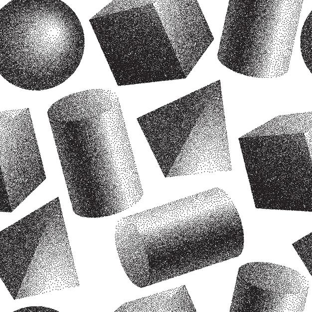 3dジオメトリの形のシームレスなパターン 無料ベクター
