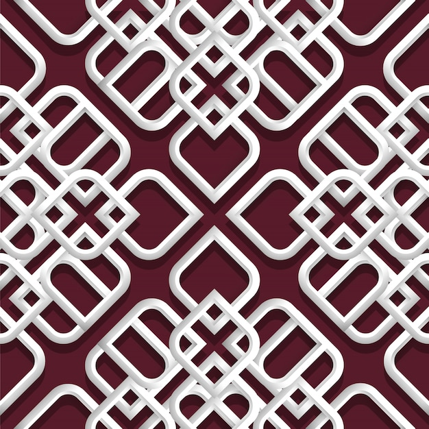 3d белый орнамент в арабском стиле Premium векторы