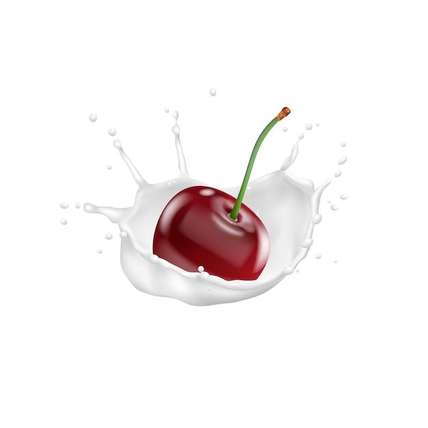 Красная вишня и всплеск молока, вектор значок 3d Premium векторы