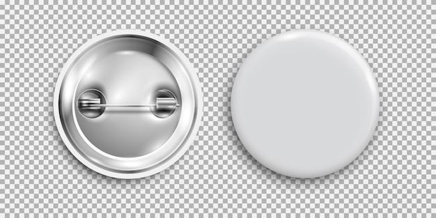 Пустой значок, 3d белая круглая кнопка, кнопка булавки изолированы Premium векторы