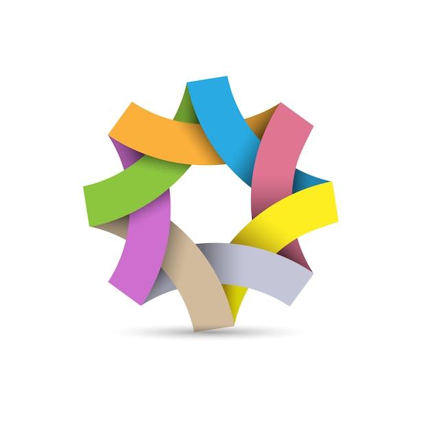 Логотип абстрактный бесконечный цикл, бумага 3d оригами Premium векторы